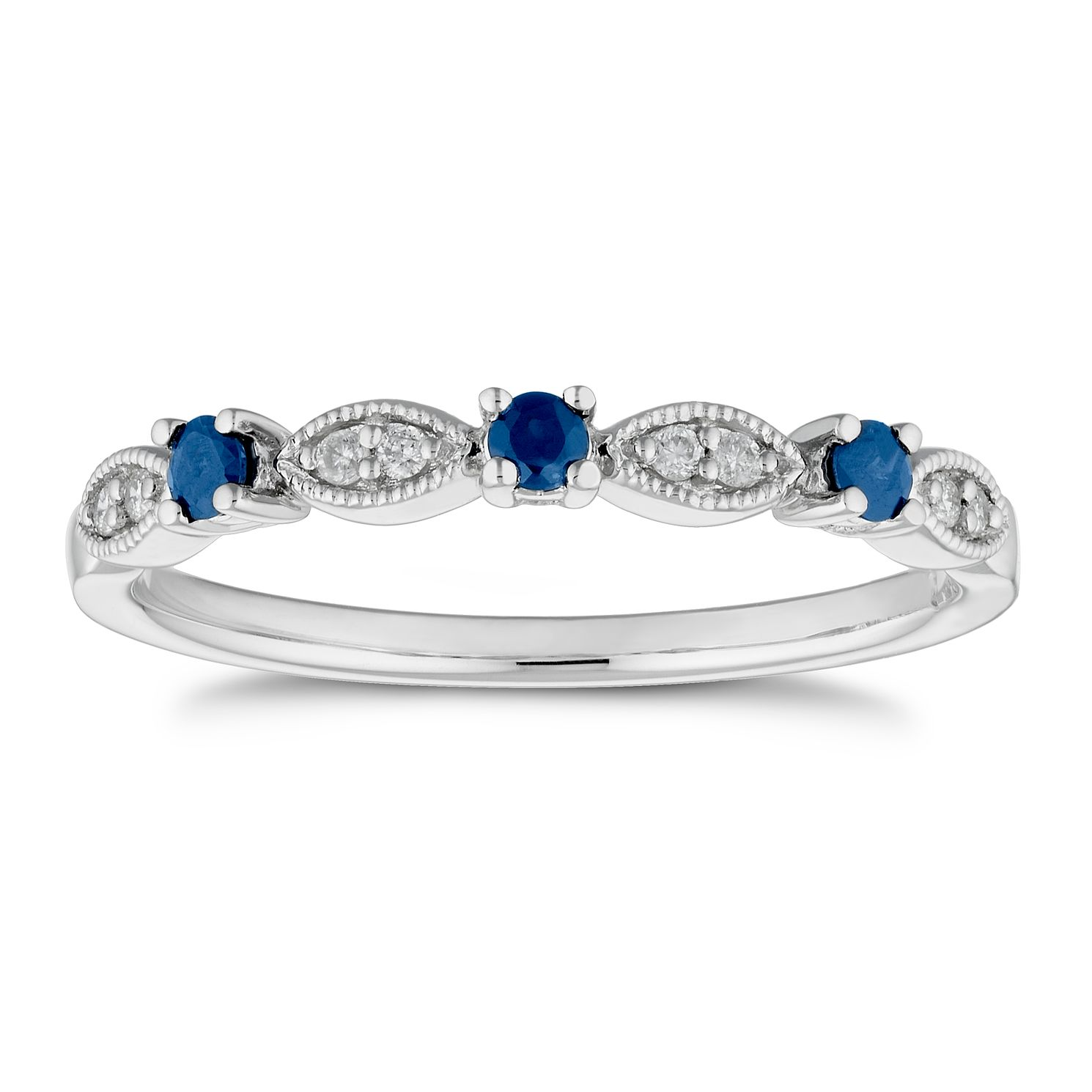 9ct White Gold Sapphire & Diamond Vintage Eternity Ring - Product number 4655982