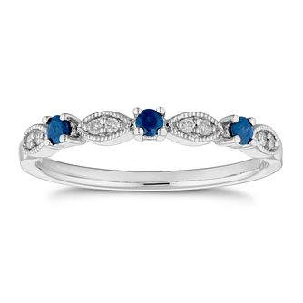 9ct White Gold Sapphire and Diamond Vintage Eternity Ring - Product number 4655982
