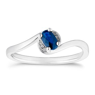 9ct White Gold Sapphire and Diamond Twist Ring - Product number 4656105
