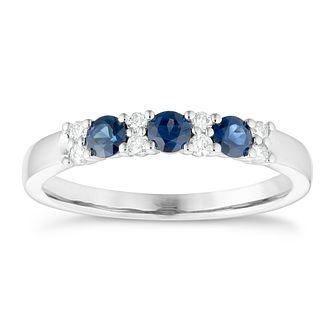9ct White Gold Sapphire And Diamond Eternity Ring - Product number 4656237