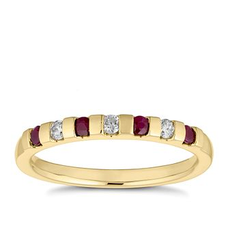 9ct Yellow Gold Ruby & Diamond Bar Set Eternity Ring - Product number 4656385