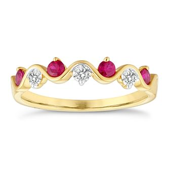 18ct Yellow Gold Ruby & 0.15ct Diamond Wave Eternity Ring - Product number 4656806