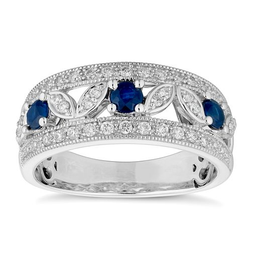 9ct White Gold Sapphire and Diamond Fancy Eternity Ring - Product number 4657055