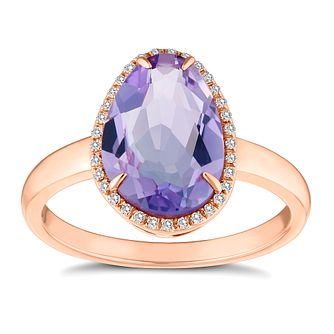 9ct Rose Gold Amethyst And Diamond Ring - Product number 4657357