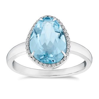 9ct White Gold Blue Topaz and Diamond Ring - Product number 4657497