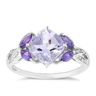 9ct White Gold Amethyst and Diamond Ring - Product number 4657624