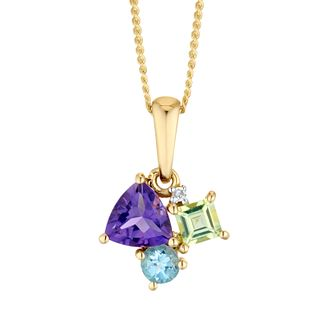 9ct Yellow Gold Diamond And Multistone Pendant - Product number 4657756