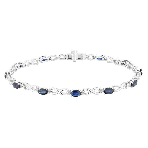 9ct White Gold Sapphire and Diamond Infinity Bracelet - Product number 4657772