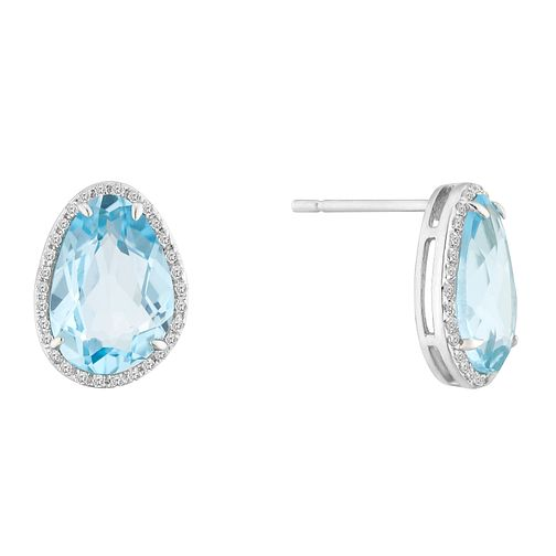9ct White Gold Blue Topaz and Diamond Earrings - Product number 4657802