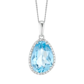 9ct White Gold Blue Topaz and Diamond Pendant - Product number 4657829