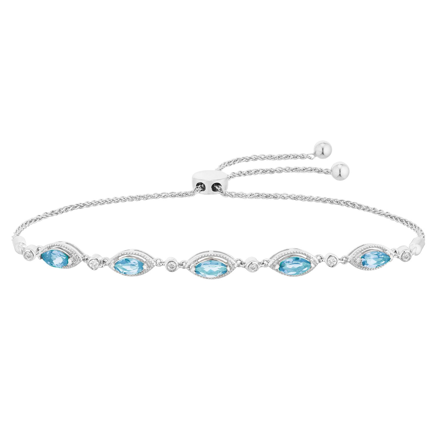Silver Blue Topaz And Diamond Adjustable Bracelet - Product number 4657845