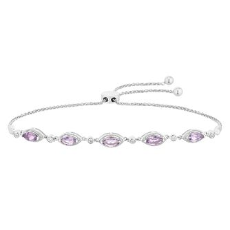 Silver Amethyst and Diamond Adjustable Bracelet - Product number 4657853
