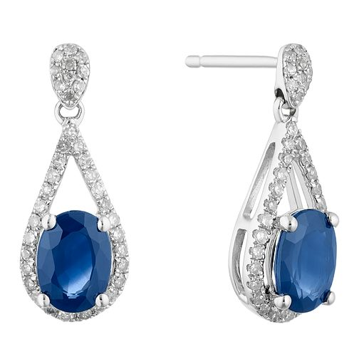 9ct White Gold Sapphire and 0.20ct Diamond Earrings - Product number 4657861