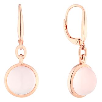 9ct Rose Gold Plated and Silver Rose Quartz Earrings - Product number 4657896