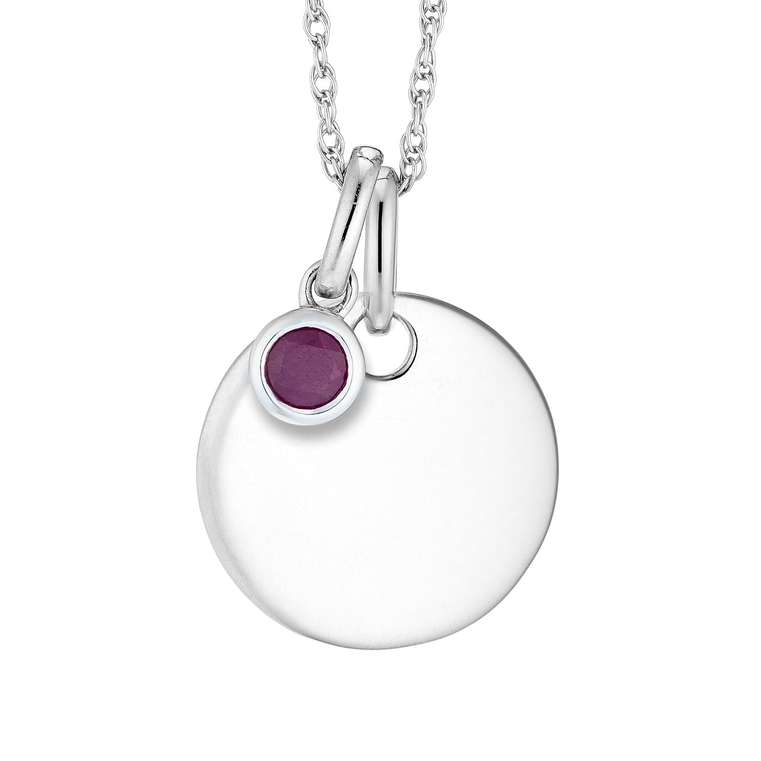 Silver Ruby Disc Pendant - Product number 4657926