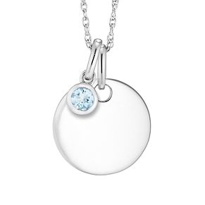 Silver Aquamarine Disc Pendant - Product number 4657934