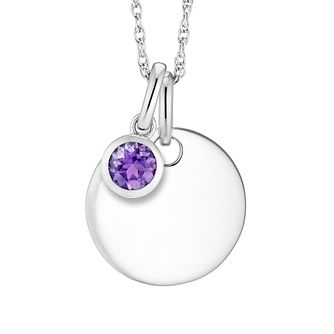 Silver Amethyst Disc Pendant - Product number 4657993
