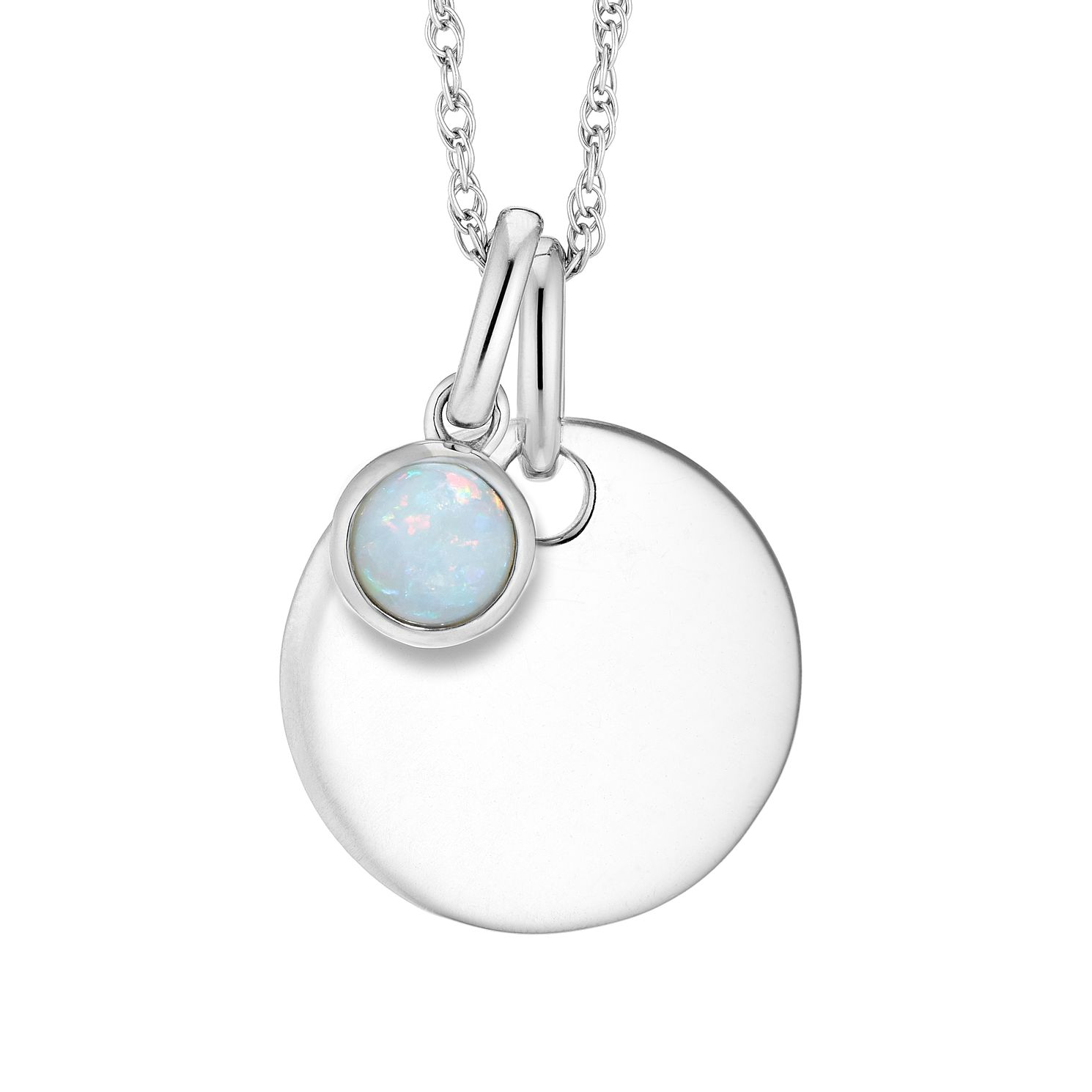 Silver And Opal Disc Pendant - Product number 4658000
