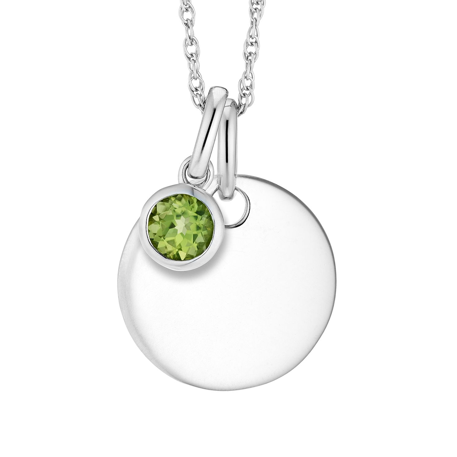 Silver Peridot Disc Pendant - Product number 4658019