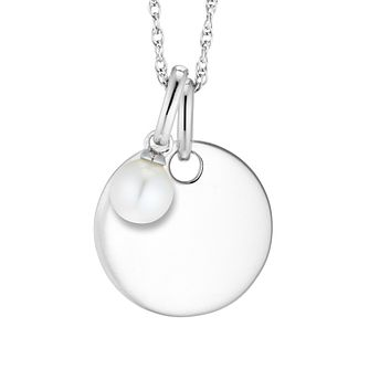 Silver Cultured Freshwater Pearl Disc Pendant - Product number 4658035