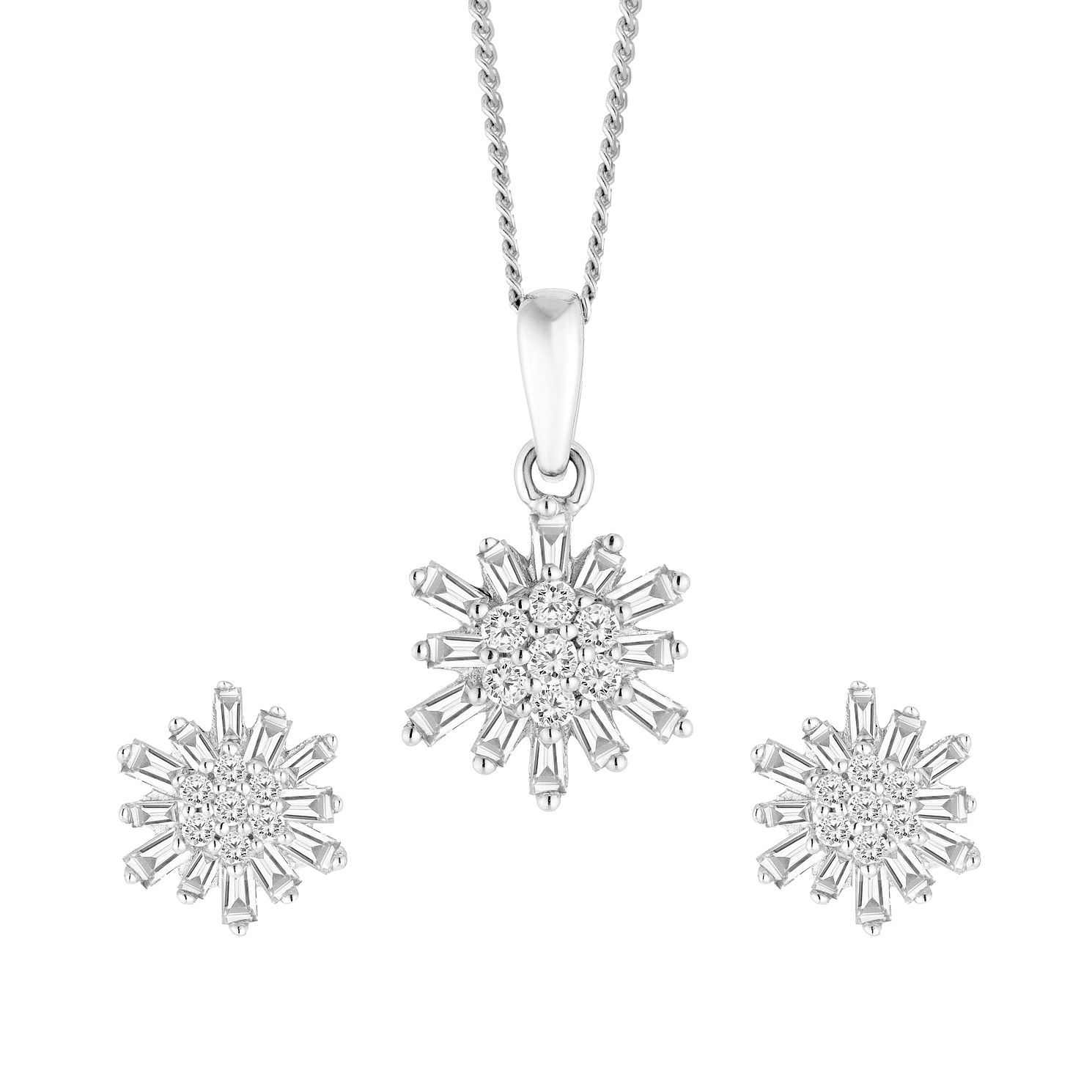 9ct White Gold 1/3ct Earrings And Pendant Jewellery Set - Product number 4658183