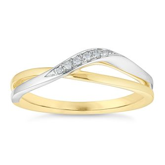 9ct Yellow And White Gold Diamond Twist Ring - Product number 4658191