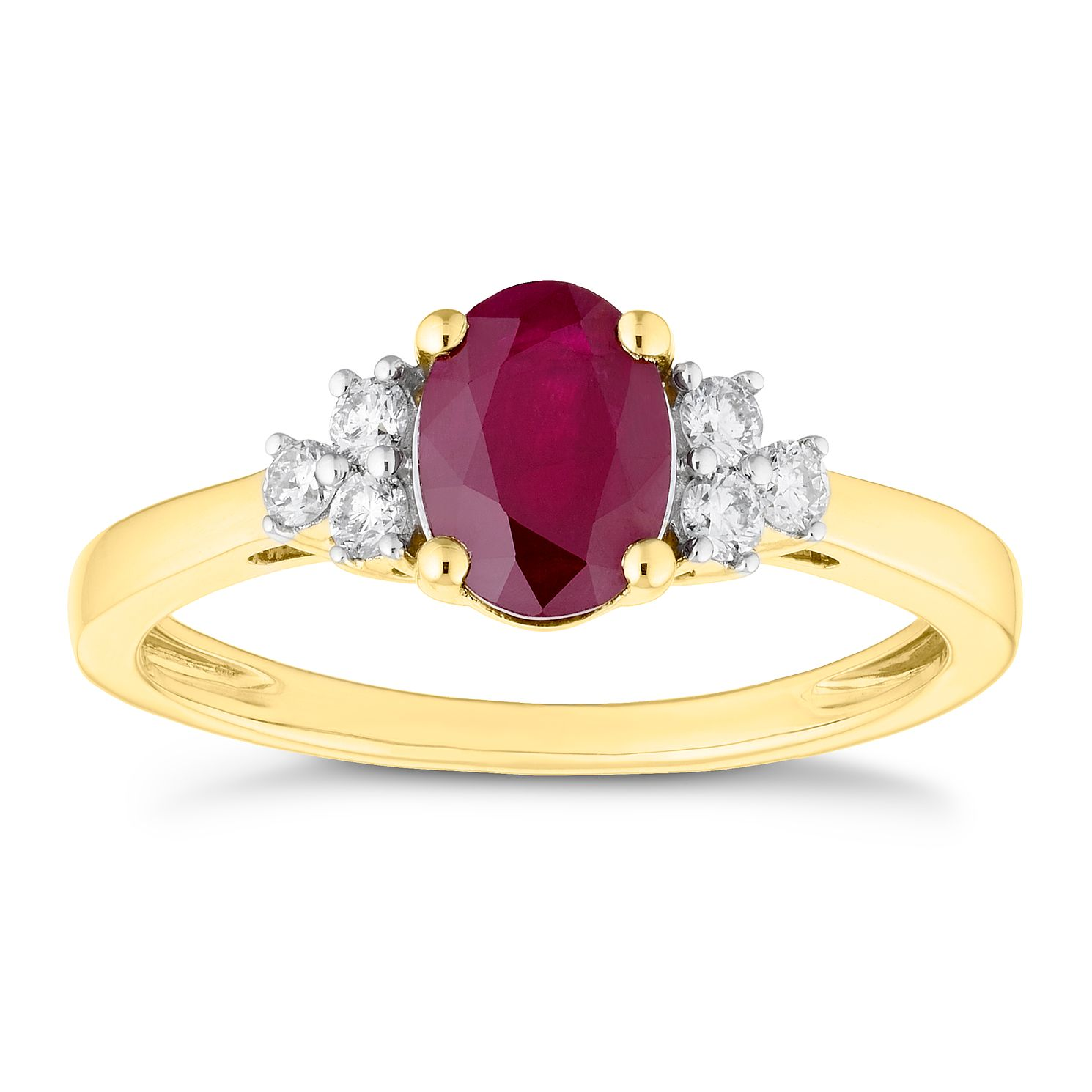 18ct Yellow Gold Ruby & 0.16ct Diamond Ring - Product number 4658329