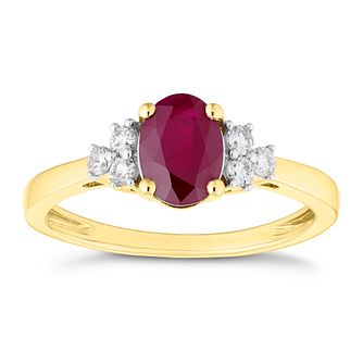 18ct Yellow Gold Ruby and 0.16ct Diamond Ring - Product number 4658329