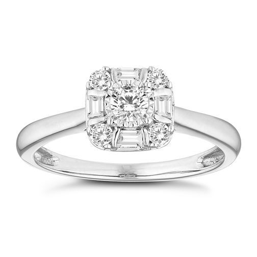 9ct White Gold 1/4 Carat Diamond Square Halo Ring - Product number 4660439
