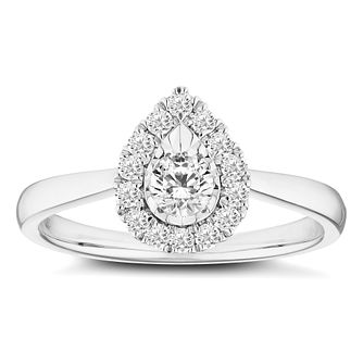 9ct White Gold 0.33ct Total Diamond Pear Shaped Halo Ring - Product number 4662318