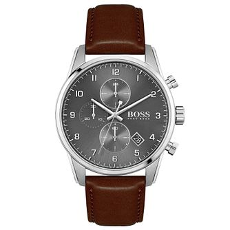 BOSS Skymaster Men's Brown Leather Strap Watch - Product number 4662377