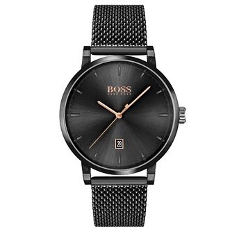 BOSS Confidence Men's Black IP Mesh Bracelet Watch - Product number 4662873