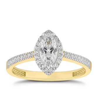 9ct Yellow Gold Cubic Zirconia Marquise Halo Ring - Product number 4662911