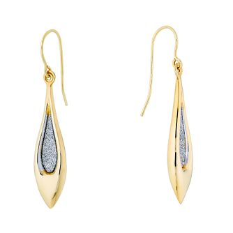 9ct Yellow Gold Glitter Teardrop Drop Earrings - Product number 4663225