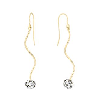 9ct Yellow Gold Crystal Ball Swirl Drop Earrings - Product number 4663284