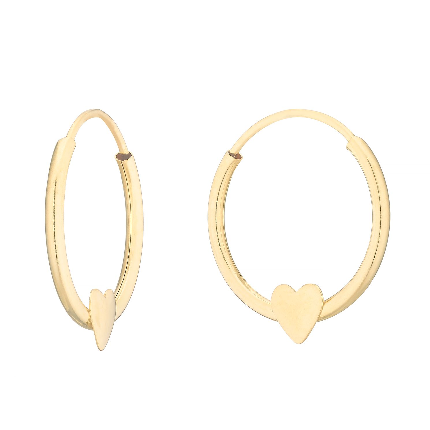 9ct Yellow Gold Heart 10mm Sleeper Earrings - Product number 4663373