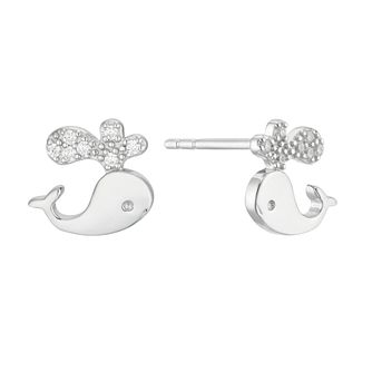 Children's Silver & Cubic Zirconia Whale Stud Earrings - Product number 4663381