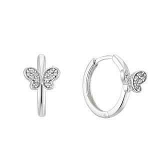 Silver Cubic Zirconia Butterfly 10mm Huggie Earrings - Product number 4663403
