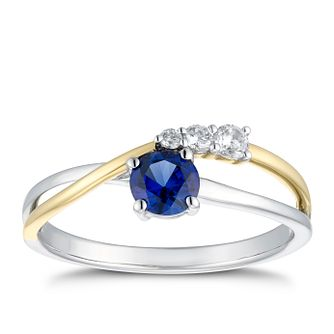 Two Tone Created Sapphire & Cubic Zirconia Crossover Ring - Product number 4663438