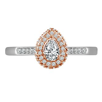 Platinum and 18ct Rose Gold 0.40ct Pear Halo Ring - Product number 4663551