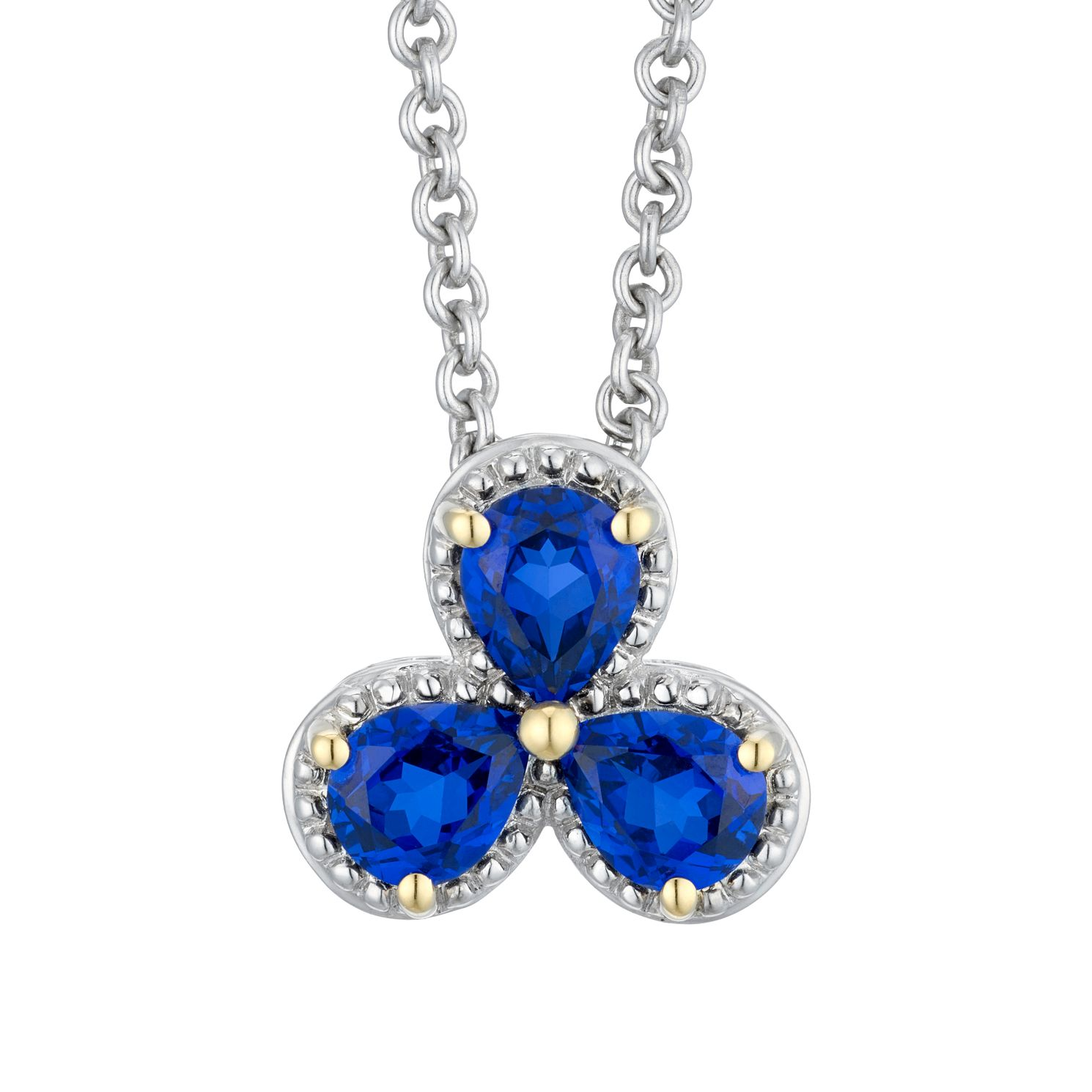 Two Tone Created Sapphire Flower Petal Pendant - Product number 4663985