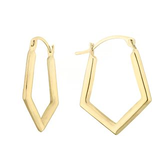 9ct Yellow Gold Pentagon Creole Hoop Earrings - Product number 4664051