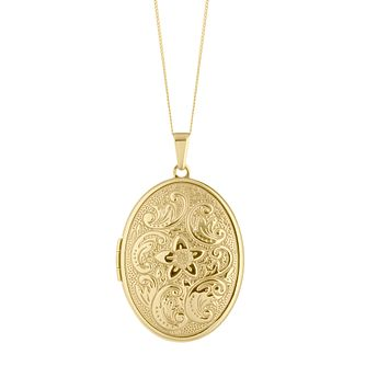 9ct Yellow Gold Floral Pattern Oval Locket - Product number 4664302