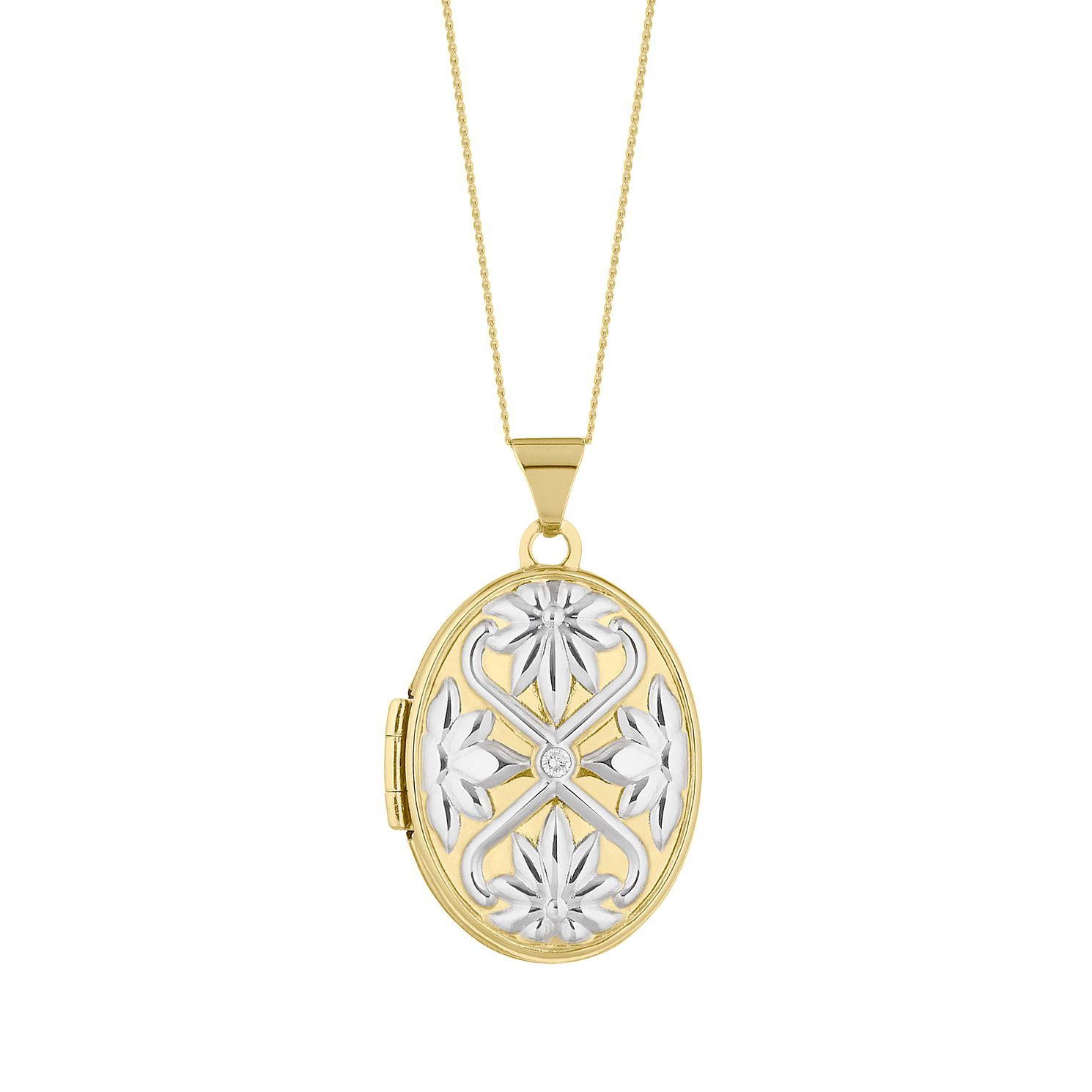 Two Tone Diamond Floral Pattern Oval Locket - Product number 4664310