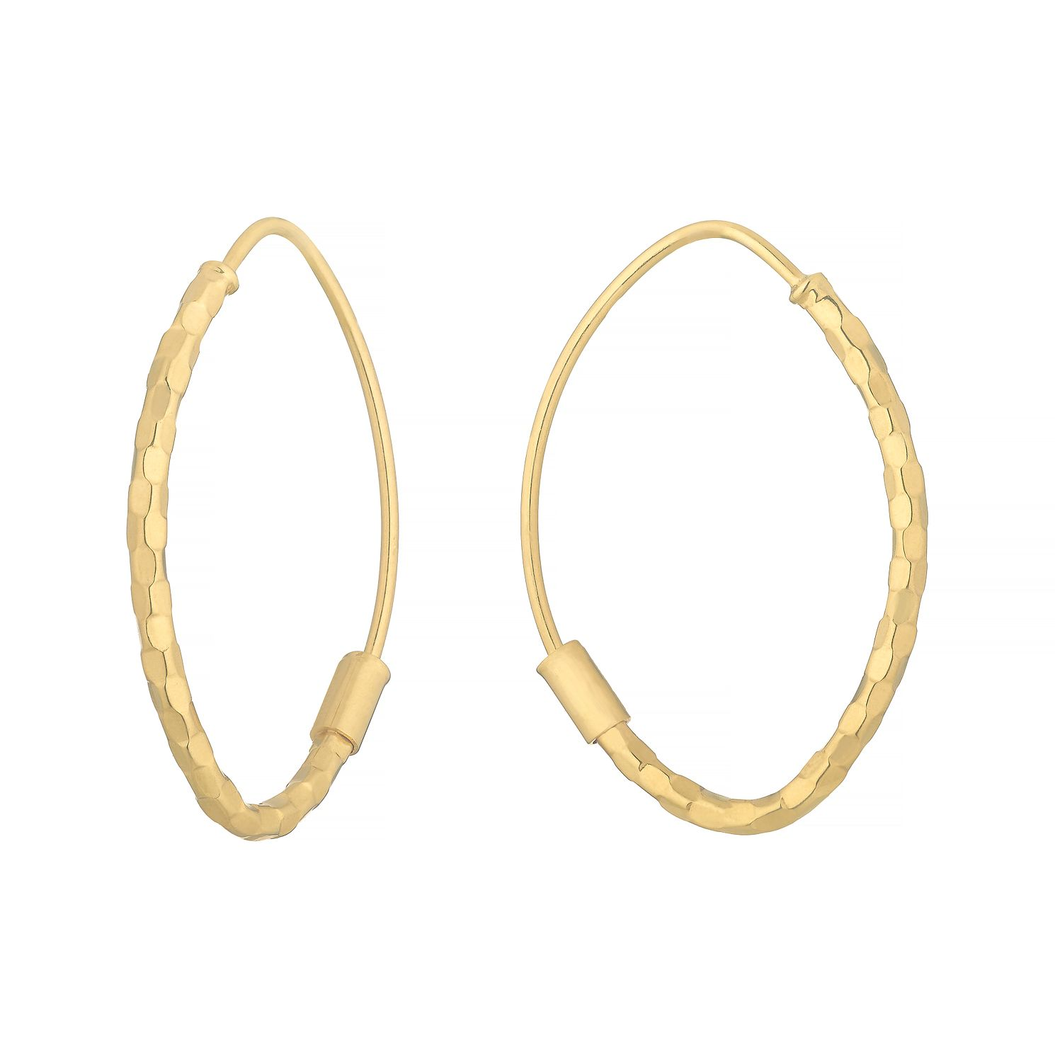 9ct Yellow Gold Hammered Oval Sleeper Earrings - Product number 4666658