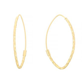 9ct Yellow Gold Hammered Oval Sleeper Earrings - Product number 4667042