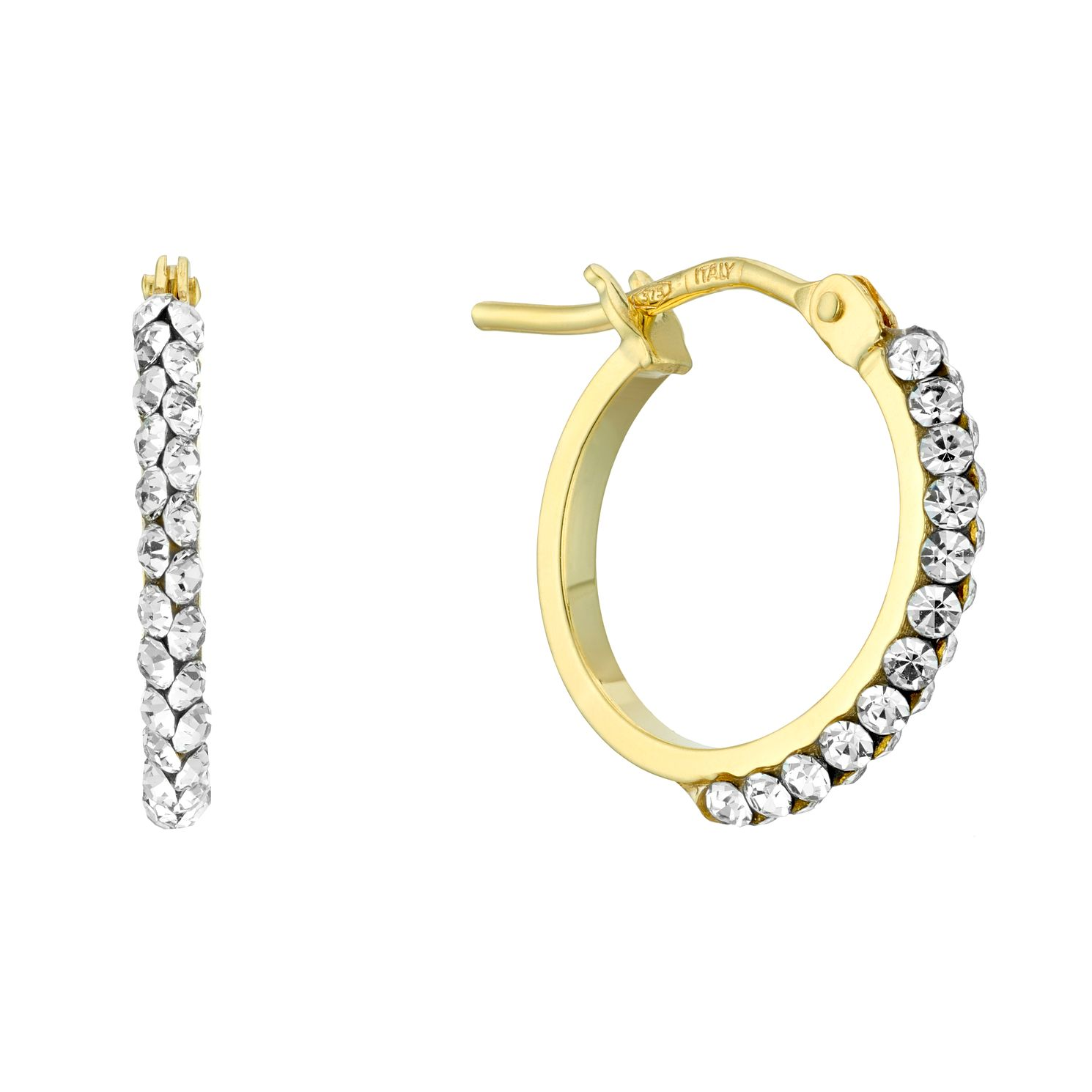 9ct Yellow Gold Crystal 10mm Hoop Earrings - Product number 4667050