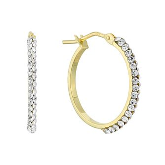 9ct Yellow Gold Swarovski Crystal 15mm Hoop Earrings - Product number 4667107