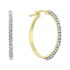 9ct Yellow Gold Swarovski Crystal 15mm Creole Hoop Earrings - Product number 4667107
