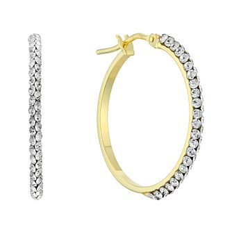 9ct Yellow Gold Swarovski Crystal 20mm Creole Hoop Earrings - Product number 4667158